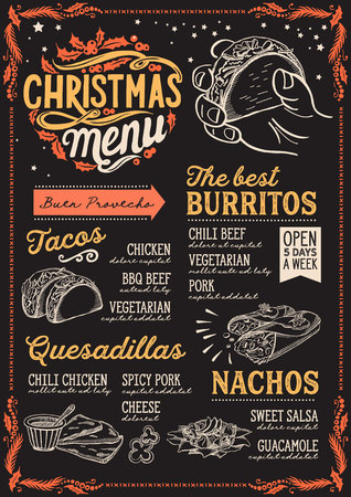 Christmas menu template for mexican restaurant and cafe on a blackboard background vector illustration brochure for xmas dinner celebration. Design poster with vintage lettering and holiday hand-drawn graphic decorations.