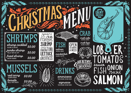 Christmas menu template for seafood restaurant and cafe on a blackboard vector illustration brochure for xmas dinner celebration. Design poster with vintage lettering and holiday hand-drawn graphic de  イラスト・ベクター素材