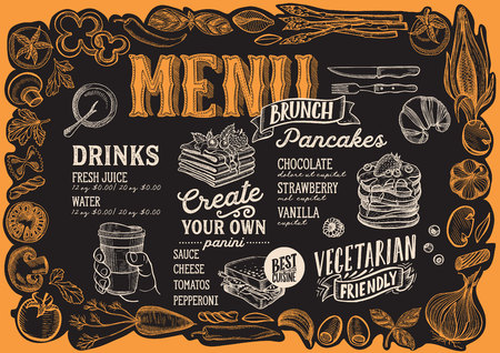 Brunch menu template for restaurant on a blackboard background vector illustration brochure for food and drink cafe. Layout with vintage lettering and frame of hand-drawn graphic vegetables.