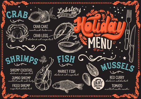 Christmas menu for seafood restaurant and cafe on a blackboard background vector illustration brochure for xmas dinner celebration. Design template with vintage lettering and holiday hand-drawn graphi
