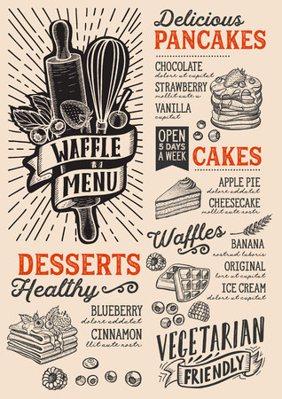 Waffle and pancake menu template for restaurant on a beige background vector illustration brochure for food and drink cafe. Design layout with vintage lettering and doodle hand-drawn graphic icons.