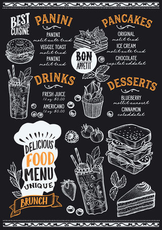 Brunch menu template for a restaurant on a blackboard background