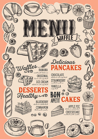 Waffle and pancake menu template for restaurant on a beige background