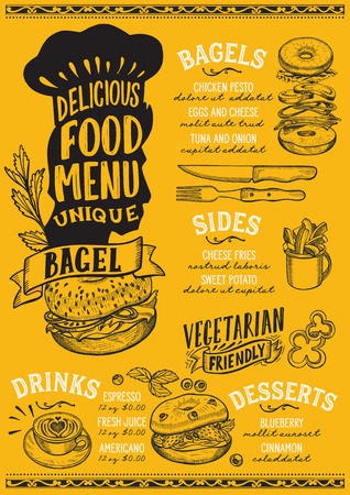 Bagel menu template for restaurant on yellow background 向量圖像