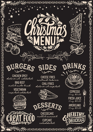 Christmas menu template for restaurant and cafe on a blackboard