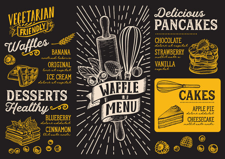 Waffle and pancake menu template for a restaurant on a blackboard background