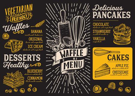 Wafel en pannenkoek menusjabloon voor een restaurant op een schoolbord achtergrond