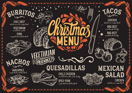 Christmas menu template for Mexican restaurant on a blackboard background