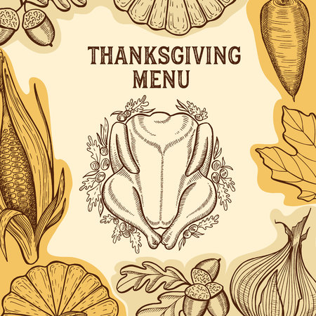 Thanksgiving menu with autumn vegetables