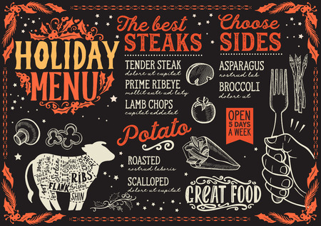 Christmas menu template for steak restaurant and cafe on a blackboard background