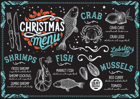 Christmas menu for seafood restaurant on a blackboard Illustration