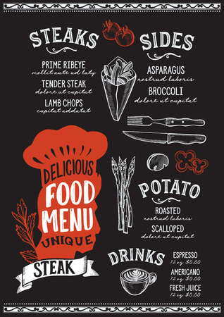 Steak menu template for restaurant on a blackboard background