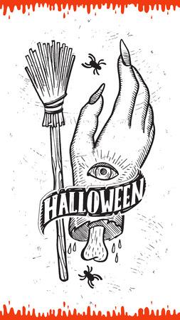 Invitación de Halloween con decoración navideña mano de zombie y escoba