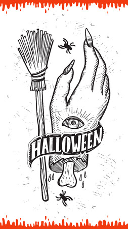 Halloween invitation with holiday decoration zombie hand and broom