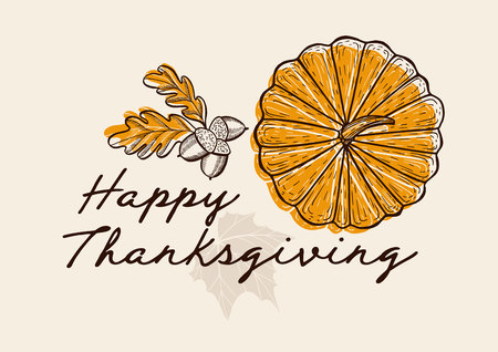 Happy thanksgiving background with colorful autumn vegetables vector illustration poster for holiday celebration. Design banner with vintage lettering and hand-drawn pumpkin, maple.