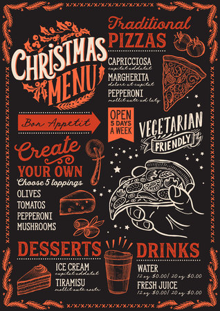 Christmas menu template for pizza restaurant and cafe on a blackboard background