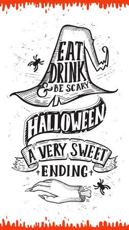 Invitación de Halloween con sombrero de decoración navideña y mano de zombie