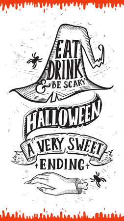Uitnodiging voor Halloween met vakantie decoratie hoed en zombie hand