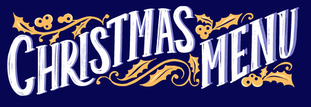 Christmas menu template for restaurant and cafe on blue background
