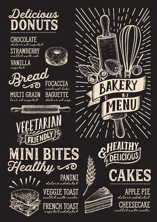 Bakery menu template for restaurant on a blackboard background Stok Fotoğraf - 109457494