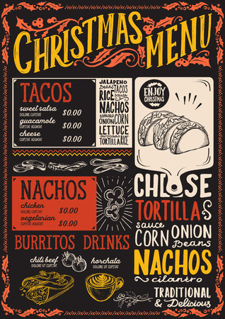 Christmas menu template for mexican restaurant and cafe on a blackboard background
