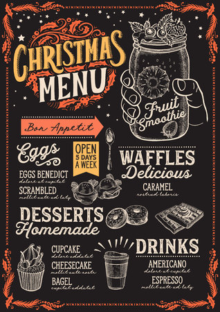 Christmas menu template for brunch on a blackboard background