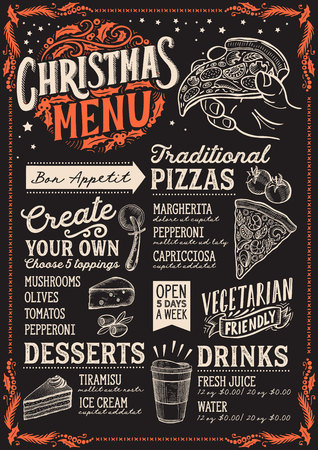 Christmas menu template for pizza restaurant and cafe on a blackboard background Archivio Fotografico - 109457499