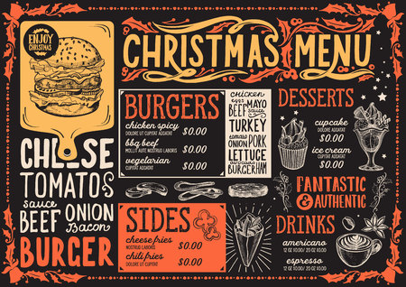 Christmas menu template for burger restaurant and cafe on a chalkboard background