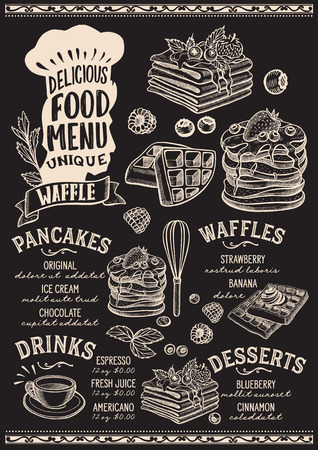 Waffle and pancake menu template for restaurant on a blackboard background Vectores