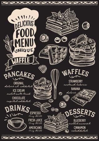 Wafel en pannenkoek menusjabloon voor restaurant op een schoolbord achtergrond