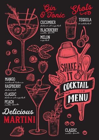 Cocktail menu template for restaurant on a blackboard background