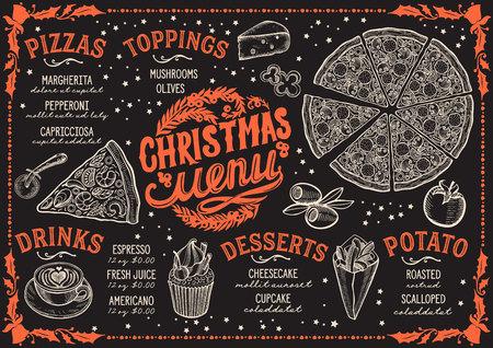 Christmas menu template for pizza restaurant on blackboard