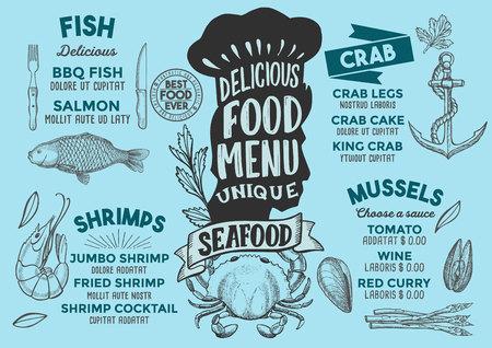 Seafood menu template for restaurant 向量圖像