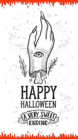 Halloween invitation with holiday decorations,zombie hand