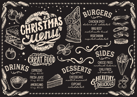 Christmas menu template for restaurant and cafe on a blackboard background