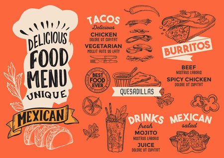 Mexican menu template for restaurant on red background Vector Illustration