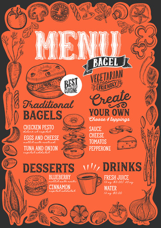 Bagel and sandwich menu template for restaurant on red background