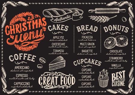 Christmas menu template for bakery and dessert cafe on a blackboard background Vector Illustration