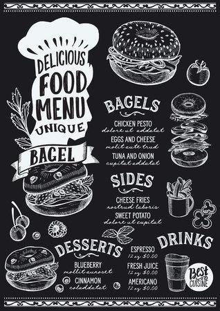 Bagel menu template for restaurant on a blackboard background Archivio Fotografico - 109458319