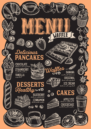 Waffle and pancake menu template for restaurant on a blackboard background Foto de archivo - 109458321