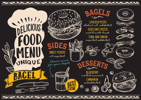 Bagel menu template for restaurant on chalkboard background 向量圖像