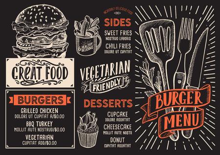 Burger menu template for restaurant on a blackboard background