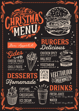 Christmas menu template for burger restaurant and cafe on a blackboard background Illustration