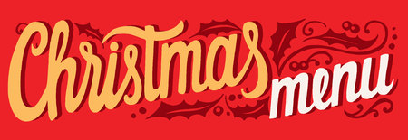 Christmas menu template for restaurant and cafe on red background Stockfoto - 109458331