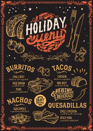 Plantilla de menú navideño para restaurante y cafetería mexicana sobre un fondo de pizarra Ilustración de vector