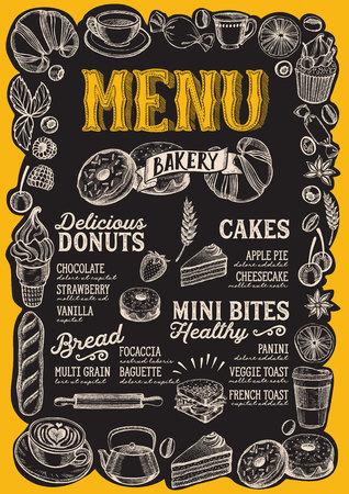 Bakery menu template for restaurant on a blackboard background Standard-Bild - 109458583