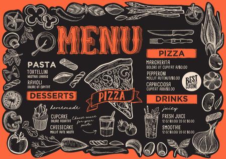Plantilla de menú de pizza para restaurante sobre un fondo de pizarra