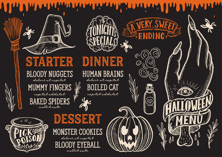 Halloween menu with holiday elements on a blackboard