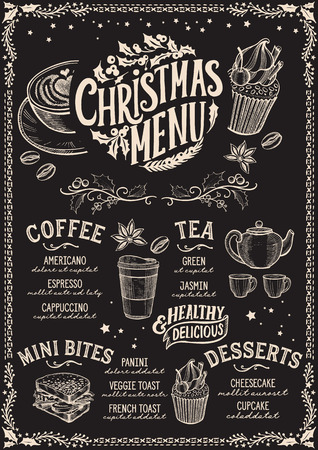 Christmas menu template for coffee shop on a blackboard background Illustration