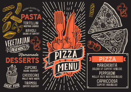 Pizza menu template for restaurant on a blackboard background